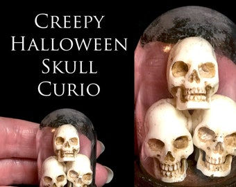 Creepy Halloween Skull Curio - Artisan fully Handmade Miniature in 12th scale. From After Dark miniatures
