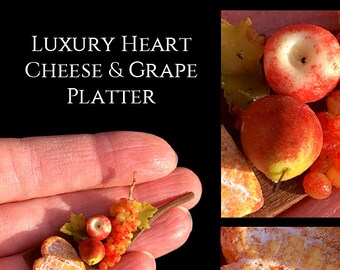 Luxury Artisan Cheese & Grape Platter - Artisan Handmade Miniature in 12th scale After Dark miniatures.