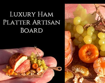 Luxury Ham Platter & Festive Satsumas - Artisan fully Handmade Miniature in 12th scale. From After Dark miniatures.