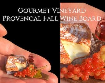 Gourmet Vineyard Provencal Fall Wine Board - set on a handmade Walnut Board - Artisan fully Handmade Miniature Dollhouse Food in 12th scale