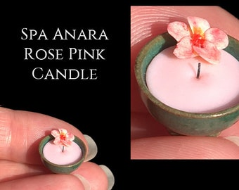 Luxury Tropical Spa Flower Candle Bowl - Elisabeth Causeret - After Dark - Artisan fully Handmade Miniature in 12th scale.