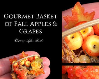 Gourmet Basket Of Fall Apples & Grapes - Artisan fully Handmade Miniature in 12th scale. From After Dark miniatures.