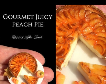 Gourmet Juicy Peach Pie - Dolls House Food in 12th scale. From After Dark miniatures.