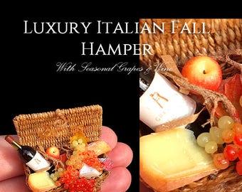 Luxury Italian Fall Hamper - With a Wonderful Artisan Made Basket - fully Handmade Miniature Halloween Dollhouse Food in 12th scale.