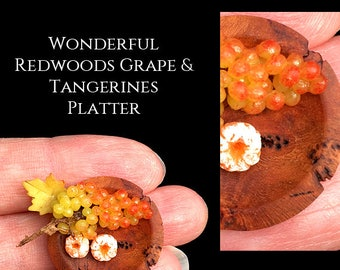 Luxury Redwoods Tangerine & Grape Platter - Artisan fully Handmade Miniature in 12th scale. From After Dark miniatures.