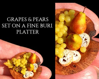 Luxury Apple & Pears Wooden Platter - Artisan fully Handmade Miniature in 12th scale. From After Dark miniatures.
