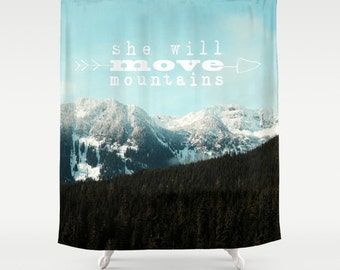 Typography Shower Curtain,mountains,nature, evergreens,snow,home decor,winter,landscape