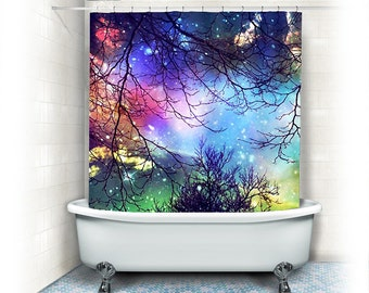 Fabric Shower Curtain Look To The Stars Clouds Starssky Night Treesaquaturquoiseblue Teal Bathroom Home Decornature