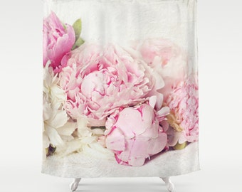 Pink Peony Shower Curtainbathroomhome Decorpastel Flowersnaturefloral Curtainshabby Chic