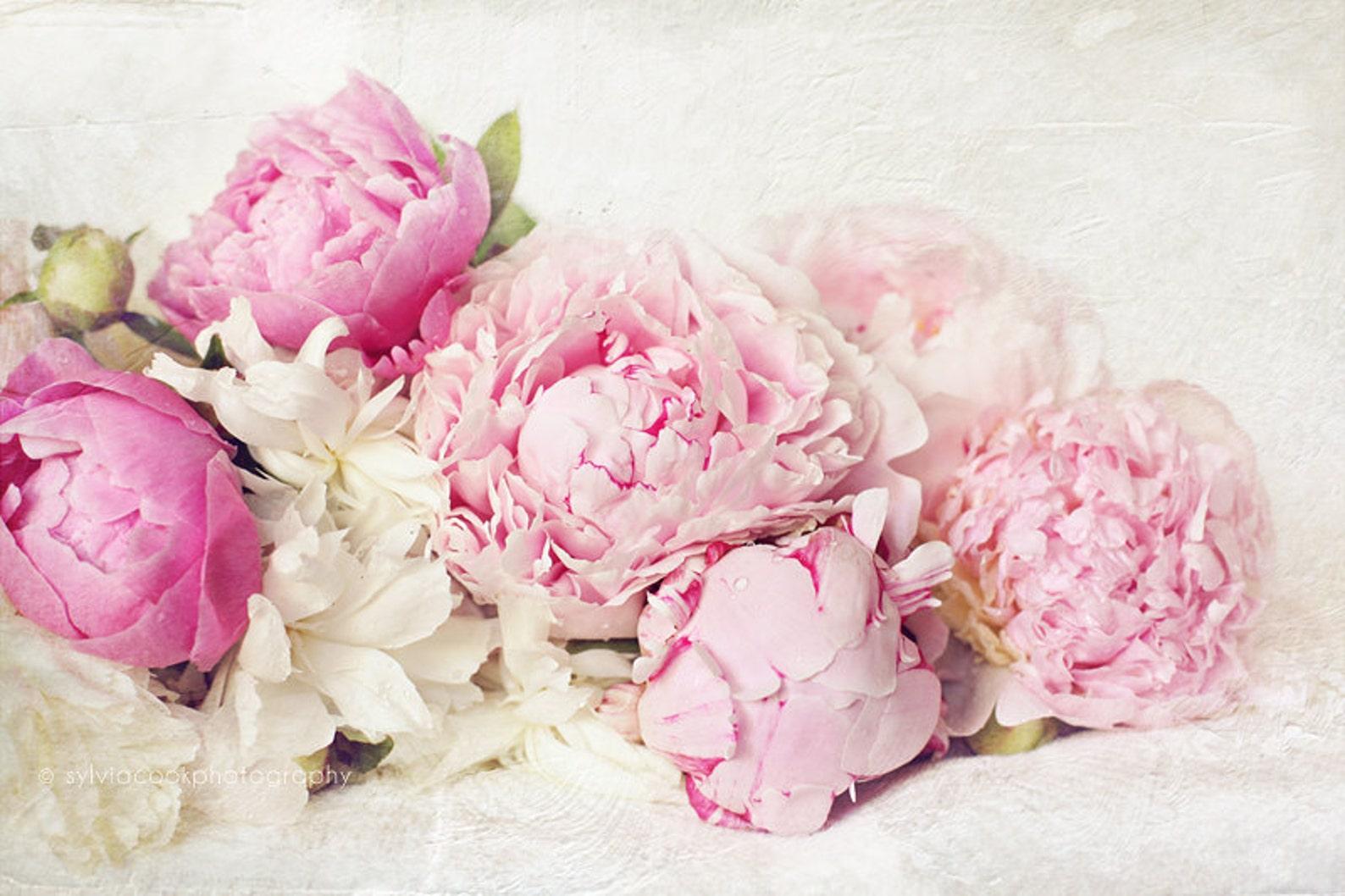 Открытка с розовыми пионами, день