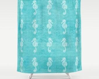 Seahorses Fabric Shower Curtain, aqua home decor,teal,turquoise,nautical,coastal bath decor