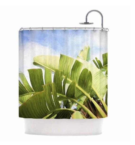 Palm leaf Shower Curtain,tropical,blue,Hawaii,landscape,nature,green home decor