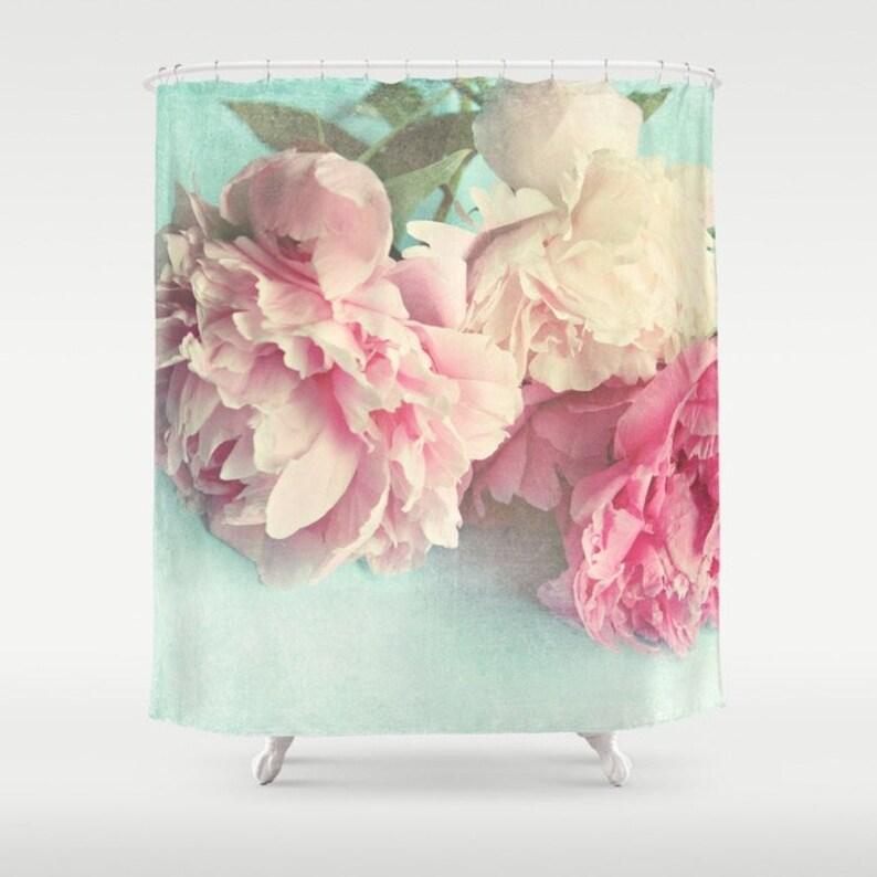 Peony Shower Curtain Like Yesterdayaqua Pink