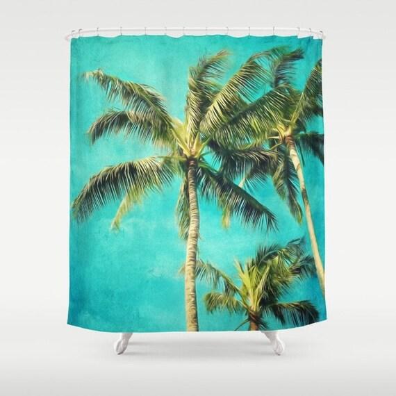 Hawaiian palms Shower Curtain,tropical,aqua home decor,fabric,turquoise,green,landscape,nature