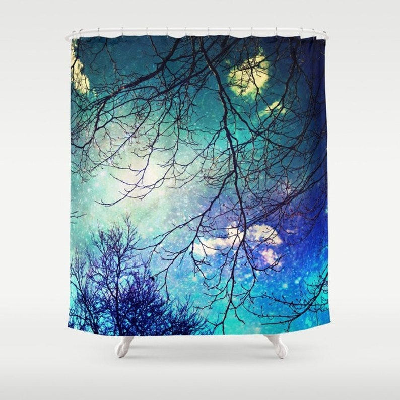 Aqua Fabric Shower Curtain Night Sky Clouds