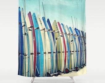 California surf boards Shower Curtain,bath,aqua home decor,turquoise,beach,blue,ocean,summer