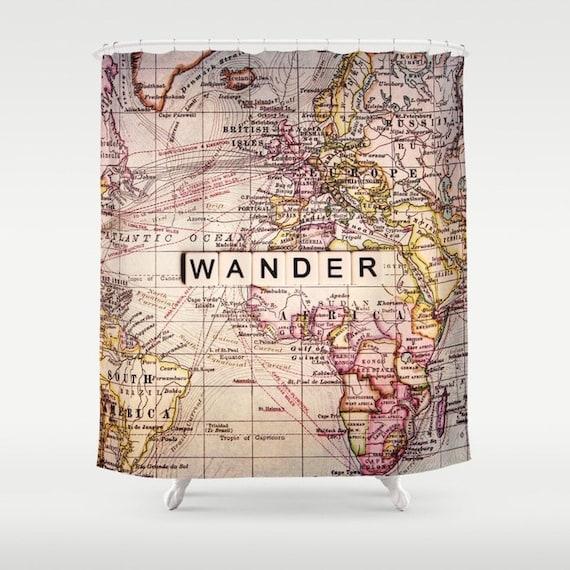 Se promener la carte du monde errer rideau de douche etsy - Rideau de douche carte du monde ...