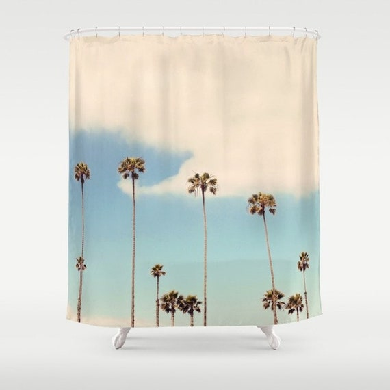California Palm Trees Shower Curtain, Palm Tree Shower Curtains Bath Accessory Sets