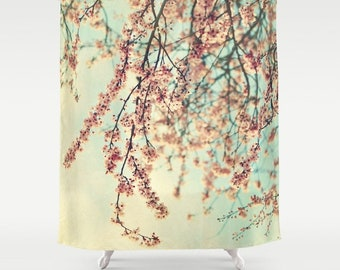 """Cherry blossoms Shower Curtain """"Take a Rest"""" white, pink,aqua, bathroom, home decor, pastel flowers, floral shower curtain,nature"""