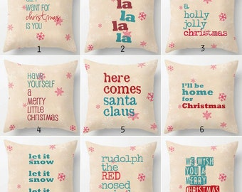 Christmas pillow cover, holiday, typography, text, seasonal, home decor, retro, red, turquoise,song lyrics,decorator pillow