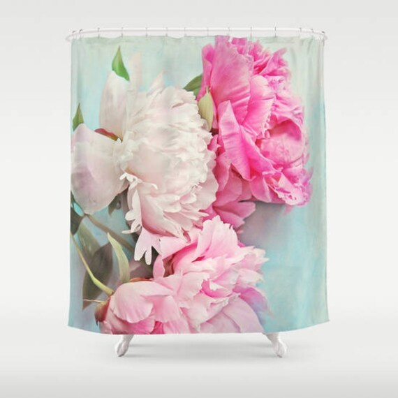 3 Pink Peonies Shower Curtain Aqua Pink Bathroomhome