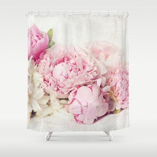 Pink Peony Shower Curtainbathroomhome Decorpastel