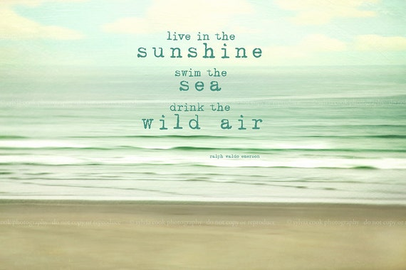 """Ocean, Beach photography """"Live in the sunshine"""", tranquil, waves,seashore, aqua,mint,cream, typography,quote"""