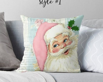 Santa PILLOW COVER ,18x18 or 22x22  Christmas pillow,vintage photo, home decor,retro santa, vintage santa, red, pink
