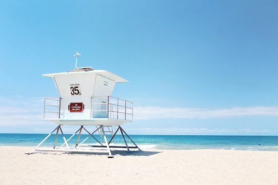 Lifeguard tower,ocean photography,Beach,seashore,summer decor,turquoise,aqua,sky,Carlsbad,Pacific,California