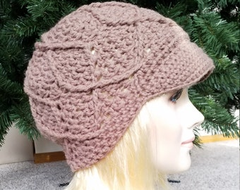 Cable crochet Newsboy womens visor hat Crochet Brimmed hat Brimmed beanie  womens Billed beanie womens Driver Cap Womens crochet Billed hat d1e04ae2e281