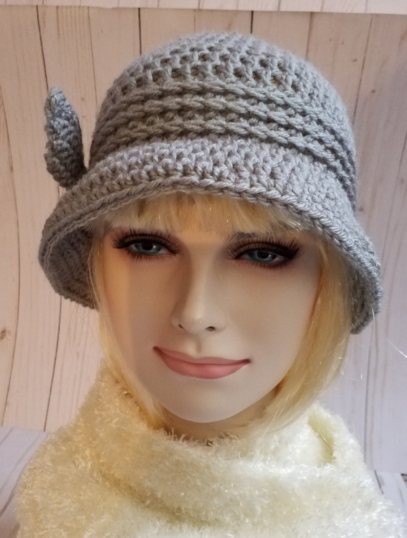 Winter Cloche Hats Grey Crochet Cloche Hat 1920S Cloche  Etsy-1319