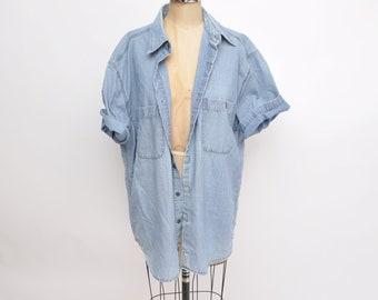 0f81eba359a vintage denim EDDIE BAUER chambray button up jean shirt oversized boyfriend  fit