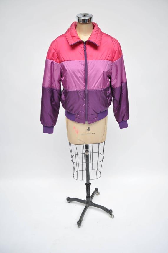 vintage womens SKI JACKET puffy puffer 1980s coat