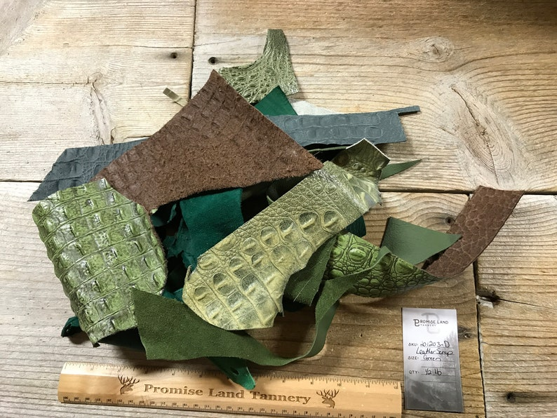 201203-D Green Color Salvaged Leather Scraps 12 Pound Lot No Buckskin Leather Pieces
