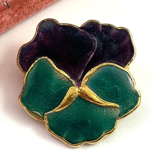 Vintage Jewelry, Vintage Pansy Jewelry, Enamel Pa… - image 9