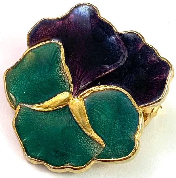 Vintage Jewelry, Vintage Pansy Jewelry, Enamel Pa… - image 8