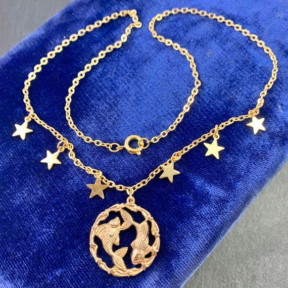 Pisces Jewelry Horoscope Zodiac Jewelry Brass Astrological Charm w Gold Plated Chain Pisces Zodiac Pisces Necklace Pisces Pendant