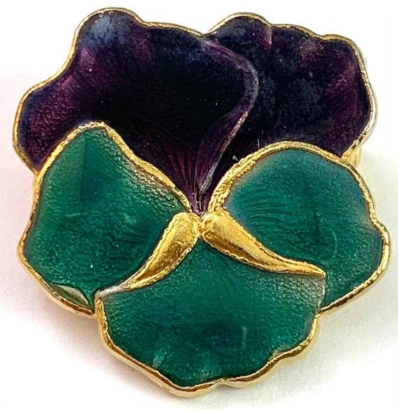 Vintage Jewelry, Vintage Pansy Jewelry, Enamel Pa… - image 2
