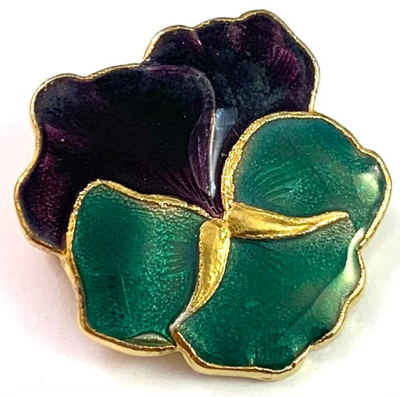 Vintage Jewelry, Vintage Pansy Jewelry, Enamel Pa… - image 3