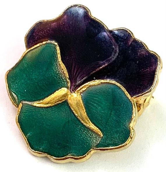 Vintage Jewelry, Vintage Pansy Jewelry, Enamel Pa… - image 6