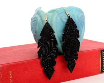 Leaf Faux Leather Earrings - Choose Your Color!