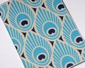 Passport Cover - Aqua Navy Peacock Feathers