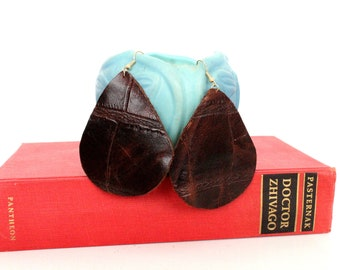 Large Teardrop Leather Earrings - Choose Your Color