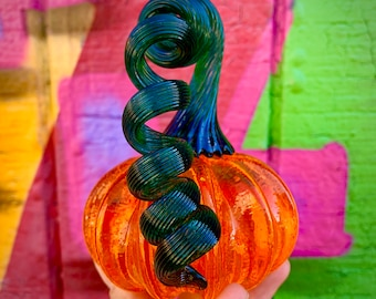 Blown Glass Pumpkin Paperweight - Saffron orange with a shiny green stem