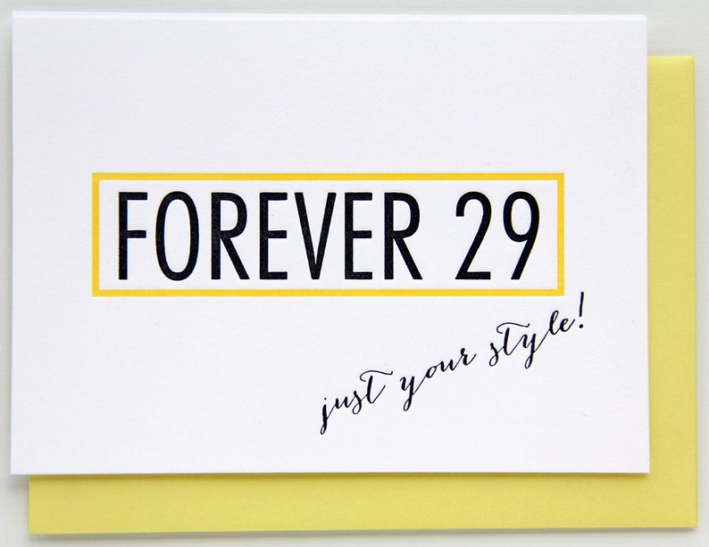 kiss and punch 30th Funny Parody Forever 29 40th Over the Hill Milestone Birthday Letterpress Card