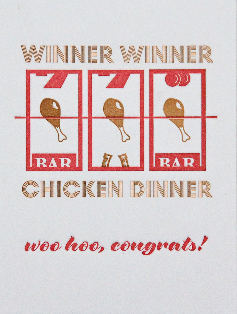 kiss and punch Funny Letterpress Winner Winner Chicken Dinner Congratulations Graduation New Promotion Job Card