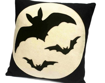 Ready to Ship - Bats Over the Moon - Full Moon Series 18 inch Pillow Cover