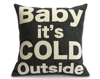 Baby it's Cold Outside -  Pillow Cover in Charcoal and Antique White - 18 inches