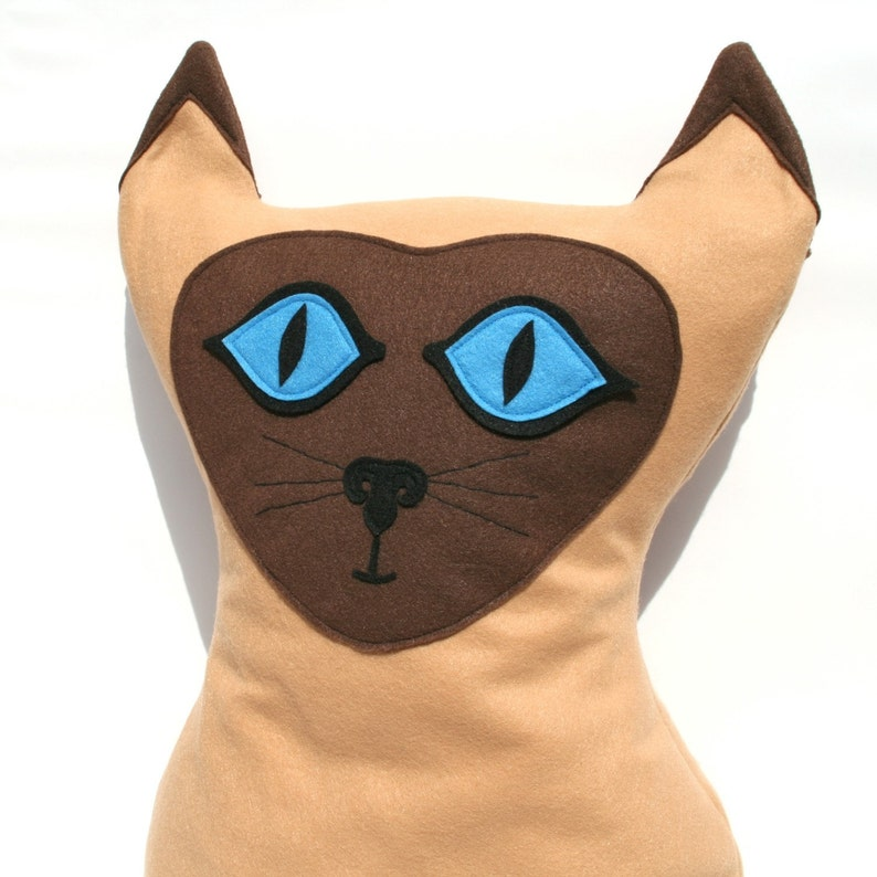 Big Kitty  Large Eco Felt Siamese Cat Pillow Cover image 0