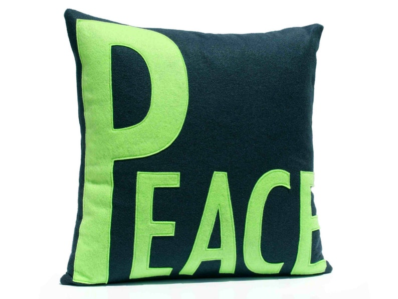 Peace Throw Pillow Cover Appliquéd in Navy and Green Eco-Felt image 0